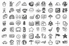 Link toPlayful hand-painted tourist element icon vector