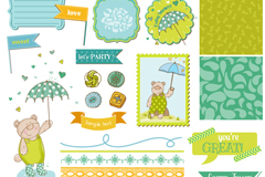Link toPlayful label and the background design, vector
