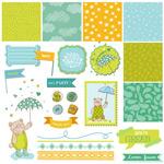 Link toPlayful label background design vector