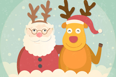 Playful santa and elk background vector