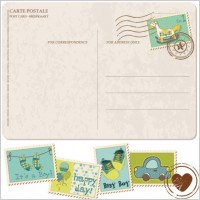 Link toPostcard with cartoon stamps 02 vector