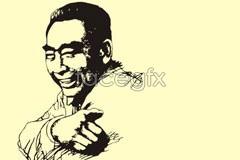 Link tovector portrait drawing line zhou Premier