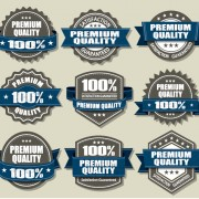 Link toPremium quality labels and blue ribbon vector free