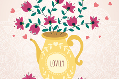 Pretty kettle-style vase, vector