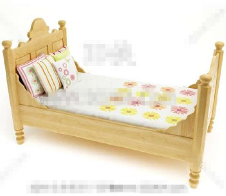 Link toPrimary color wooden children bed 3d model