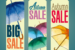 Link toPromotional umbrellas decorate the autumn banner vector