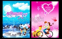cover theme day valentine's cartoon Psd