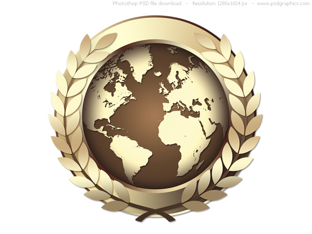 Psd gold world award icon, golden medal