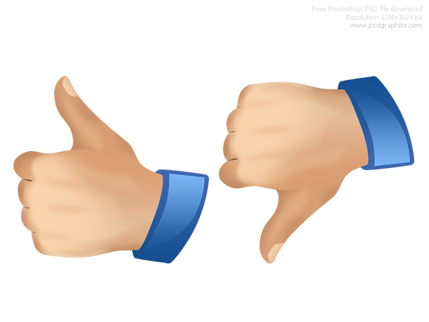 Psd thumbs up and down icons