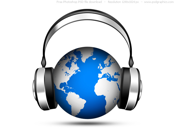 Link toPsd world music icon, globe with headphones