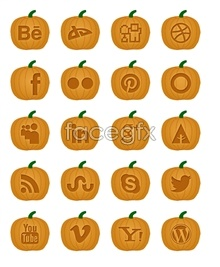 Pumpkin-style social media icons