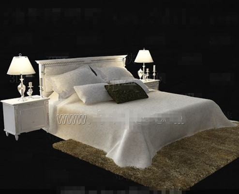 Pure white yellow light cozy double bed 3d model