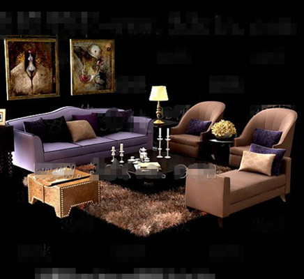 Link toPurple and brown comfortable sofas combination 3d model