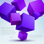 Purple cube background vector