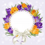 Link toPurple flower with bow vector cards 02 free