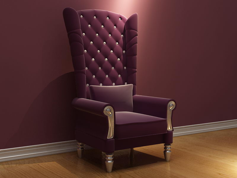 Link toPurple high-backed armchair chair 3d model (including materials)