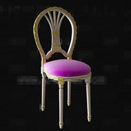 Link toPurple seat white wooden chair 3d model