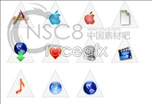 Pyramid of white apple icon
