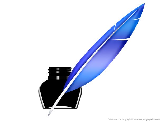 Link toQuill pen and inkwell icon (psd)