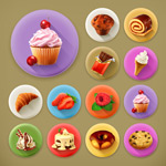 Real dessert icon vector
