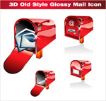 Red 3d mailbox icon vector