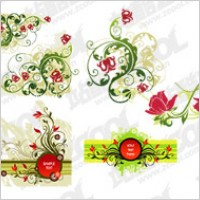 Link toRed and green flower pattern combination of vector material