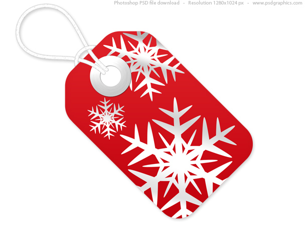 Link toRed and white christmas tags, psd template
