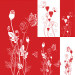 Link toRed-and-white floral background vector