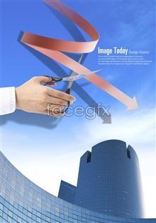 Link toRed arrow business concept scissors psd
