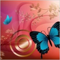 Link toRed background, flowers and blue butterfly graphics vector design