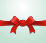 Red bow ribbon vector