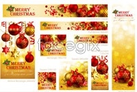 Link toRed christmas decorative elements vector