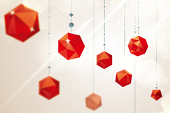 Red crystal ornaments vector background