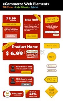 Red decorative labels psd