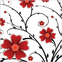 Link toRed flower floral background vector graphics