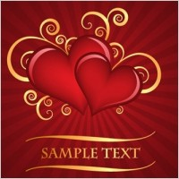Link toRed heart-shaped pattern with the radiation background of vector material