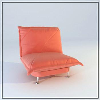 Link toRed leather single sofa 3d model