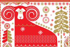 Link toRed pattern sheep vector background