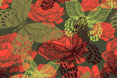 Link toRed peony flower and butterfly background vector