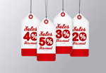Red promotional label vector