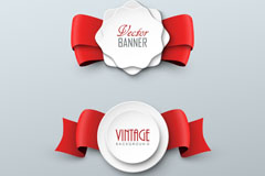 Link toRed ribbon cutting tags design vector