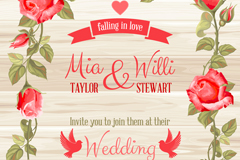 Red rose border wedding invitation card vector