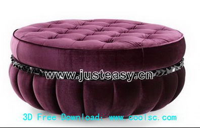 Link toRed sofa stool 3d model (including materials)