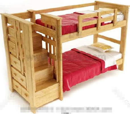 Link toRed timber double children bed 3d model
