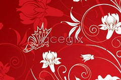 Link toRed vector butterflies and floral design