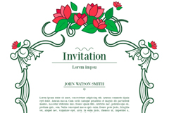 Red vine flowers invitation card vector