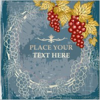 Link toRed vines and grapes background vector