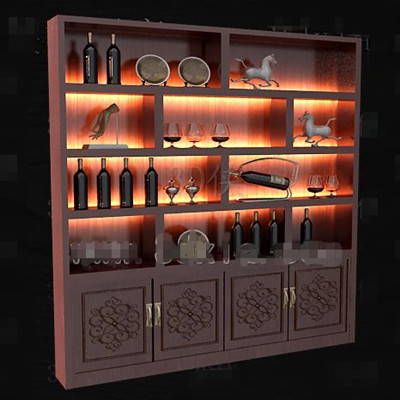 Link toRed wooden chinese style wine cabinet 3d model