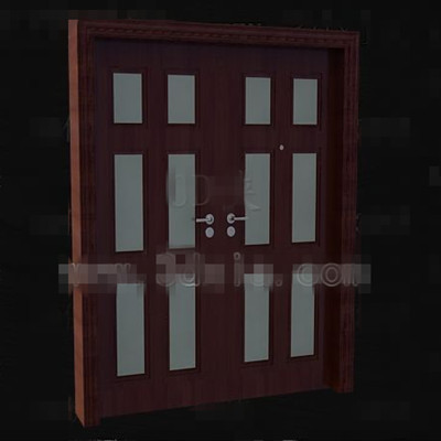 Link toReddish-brown wood metal handles door 3d model