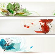 Link toRefreshing banner with floral vector design 03 free